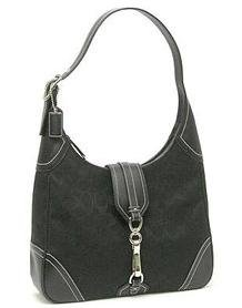 Coach Signature Large Clip Hobo Purse Handbag NWT Silver/Black #8K03