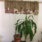 Natural Burlap And Bhupendra Lined Scalloped Layered Valance/Curtain