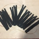 12 Black Nylon Coil Teeth  Zippers Size 5""