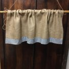 "Natural Burlap French Country Valance With 2 1/2"" Black White Gingham Border"