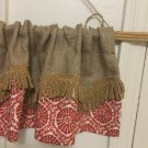 Natural Burlap Lobster Seabreeze Scalloped Layered Valance/Curtain With Gold Fringe