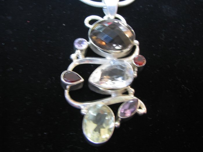 Mix stones pendent with silver chain