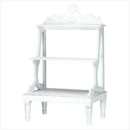 Distress White Plant Stand  34710