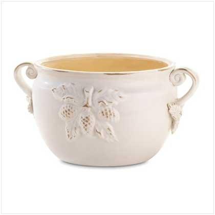 White Porcelain Bowl Planter  37045