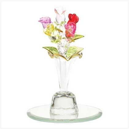 Five Mini Roses in Glass Vase  38041