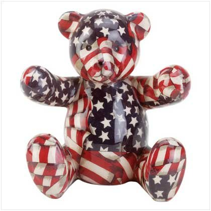 Patriotic Patchwork Bear Bank  33824