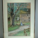 GLORIA WHITLEY &quot;Burwell-Morgan Mill&quot; Oil Pastel DRAWING, ca 1996 VA Historical