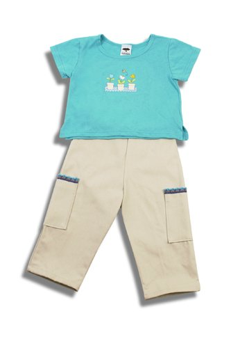 Mulberribush Cargo Capri Pants and Tee Shirt Set Girls Size 6 New Children's Boutique Clothing