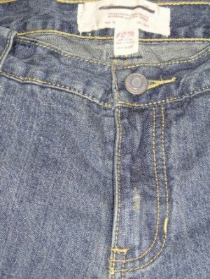 Abercrombie & Fitch Jeans 10 R Vintage Wash Destroyed Wide Leg Zip Fly Back Flap Pockets Distressed