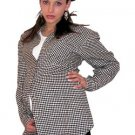 Maternity Shirt Designer Black and White Gingham Flannel Long Sleeve Button Front Size Meduum Med M