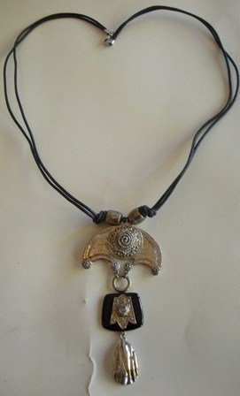 80�s Vintage Silver Tone and Leather Necklace