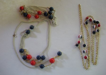 TWO Vintage Patriotic Big Beaded Necklace