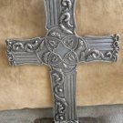 Pewter Embossed Carpentree Ornate Cross