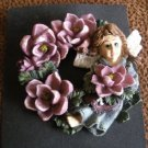 Ceramic Rose and Angel Wreath Brooch