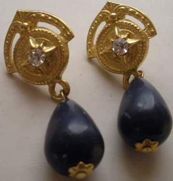 80�s Vintage Rhinestone Accented Earrings