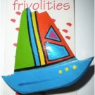 80's Vintage Hand Painted Wooden Sailboat Brooch