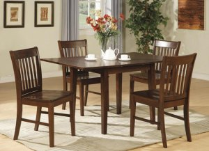 """5-PC Norfolk 32�X54"""" Rectangular dinette table set & 4 chairs in Mahogany Finish.SKU: NF5-MAH-W"""