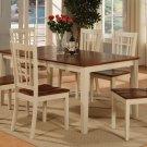"7-PC-Nicoli Dining Set Table -Size 36""X66""-Buttermilk & Saddle Brown.SKU:N7-WHI-W"