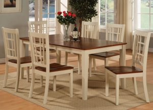 7-PC-Nicoli Dining Set Table -Size 36&acirc;X66&acirc;-Buttermilk &amp; Saddle Brown.SKU:N7-WHI-W