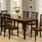 "7-PC-Nicoli Dinette Dining Set Table -Size 36""X66""-in Black & Saddle Brown. SKU: N7-BLK-W"