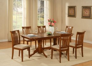 "7-PC-Naport Rectangular Dining Table Set- 40�X76�-with 17"" extension leaf.SKU: NAP7-SBR"
