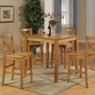 "5-Piece Square Pub-Set Table size 36""x36""- in Red Oak Finish.  SKU: PUB5-OAK-W"