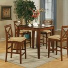 "5-PC Square  Pub-Set Table size 36""x36""- in Dark Brown Finish. SKU: PUB5-BRN-C"