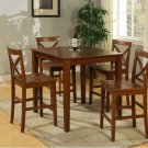 "5-PC Square  Pub-Set Table size 36""x36""- in Dark Brown Finish. SKU: PUB5-BRN-W"