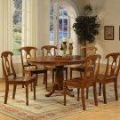 """Portna-7-PC Oval Dinette Dining Table set- 42""""x60"""" in Saddle Brown Finish. SKU: PN7-SBR-W"""
