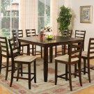9-PC Fairwinds Square Counter Height Table with 8 Padded Seat Chairs in Cappuccino. SKU: F9-CAP-C