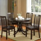 "5PC Hartland Dinette Kitchen set  42"" diameter Round Table & 4 chairs-Black Walnut. SKU:HA5-WAL"