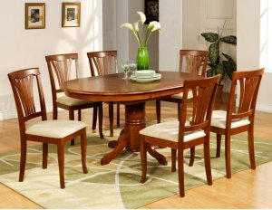 7PC Avon Oval Dining Table and 6 padded chairs in Saddle Brown Finish. SKU: AV7-SBR-C