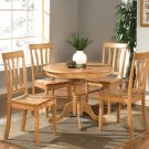 5-PC Antique Round Dinette Kitchen Table Set-Oak Color.  SKU:  AN5-OAK