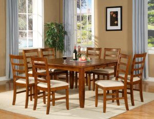 Parfait 7-Pc Square Gathering Dining Table 54x54 Extension leaf & 6 chair Saddle Brown. SKU: PA7-SBR