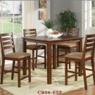 "Cafe 5-PC Square Gathering Pub Counter Height Table Set-Size: 42""x42"" in Espresso.  SKU:CF5-ESP"