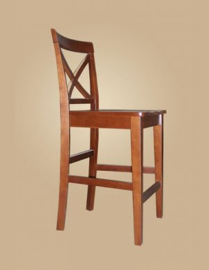 Set of 2  Pub counter height stools with wood seat in Dark Brown finish.