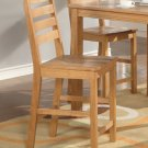 Set of 2  Cafe counter height stools with wood seat in Oak finish.