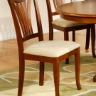 Set of 2 Avon dining room chairs with microfiber upholstered seat in Saddle Brown finish.