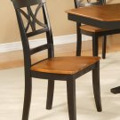 Set of 2 Elington dining room chairs with wood seat in Black & Saddle Brown finish.