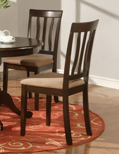 Set of 2 Antique dining room chairs with microfiber upholstered seat in Cappuccino finish.