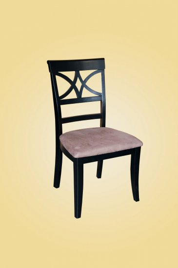 Set of 2 Elington dining room chairs with  microfiber upholstered seat in Black finish.