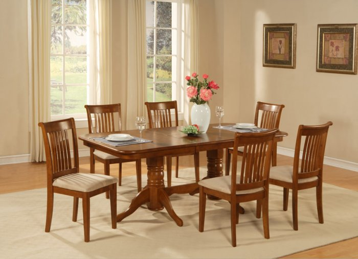 "5-PC-Naport Rectangular Dining Table Set- 40�X76�-with 17"" extension leaf.SKU: NAP5-SBR"