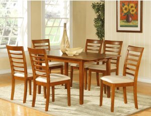 "Picasso 7-PC Rectangular Dinette Dining Table Set-32""x 60"" with 12""extension leaf.  SKU: PS7-SBR"