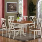 "7-PC- Kenley 42X60"" Oval Dinette Dining Set table & 6 chairs in Buttermilk & Cherry  SKU: K7-WHI"