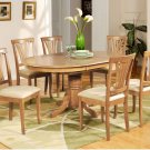 7-PC Avon Oval Dining Table with 6 Upholstered Chairs in Oak Finish. SKU#: AV7-OAK