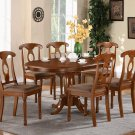 "Portna-7-PC Oval Dinette Dining Set -Table 42""x60"" in Saddle Brown Finish. SKU: PN7-SBR-C"