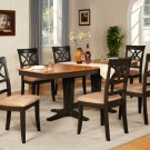 "Ellington 7-Pc Dining Table Set-40""X82""-extension leaf- in Black & Cherry.  SKU: EL7-BLK-C"