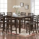 9-PC Fairwinds Square Counter Height Table with 8 Wood Seat Chairs in Cappuccino. SKU: F9-CAP-W