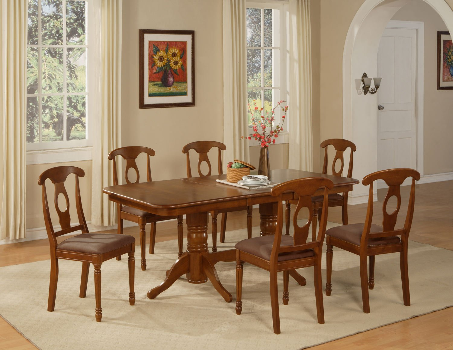 "5-PC-Napoleon Rectangular Dining Table Set- 40�X76�-with 17"" extension leaf. SKU:NA5-SBR"