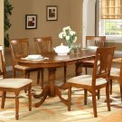 7-PC Plainville Oval Dining Room Set Table + 6 Upholstered Chairs in Saddle Brown. SKU#: PL7-SBR